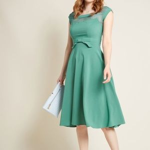 Modcloth Worth the Wink Midi Fit and Flare Dress
